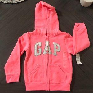 Toddler Girls Coral/Pink Zip Up Sweater!
